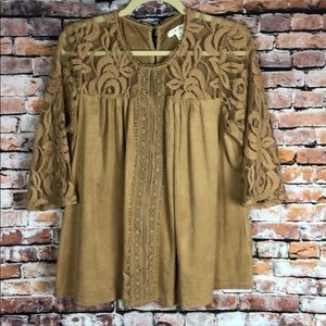Camel suede and lace casual blouse top